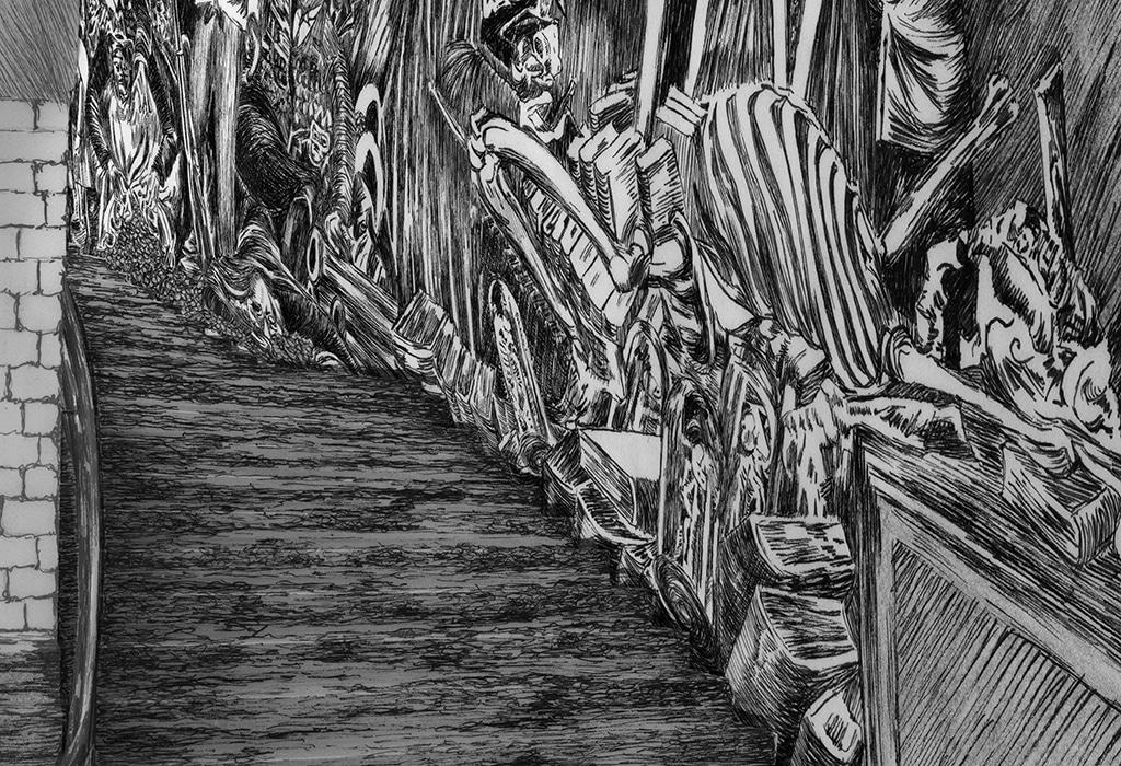 detail, print, museum, piranesi, staircase