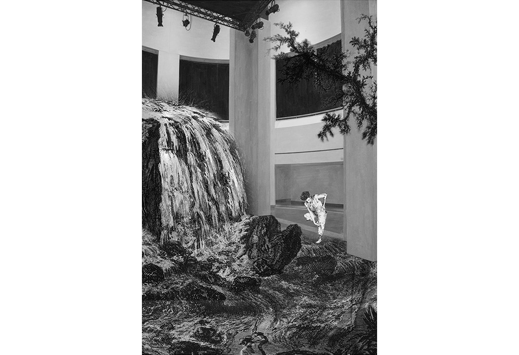 Print, museum, Piranesi, waterfall with woman, sharp tacks, grete stern