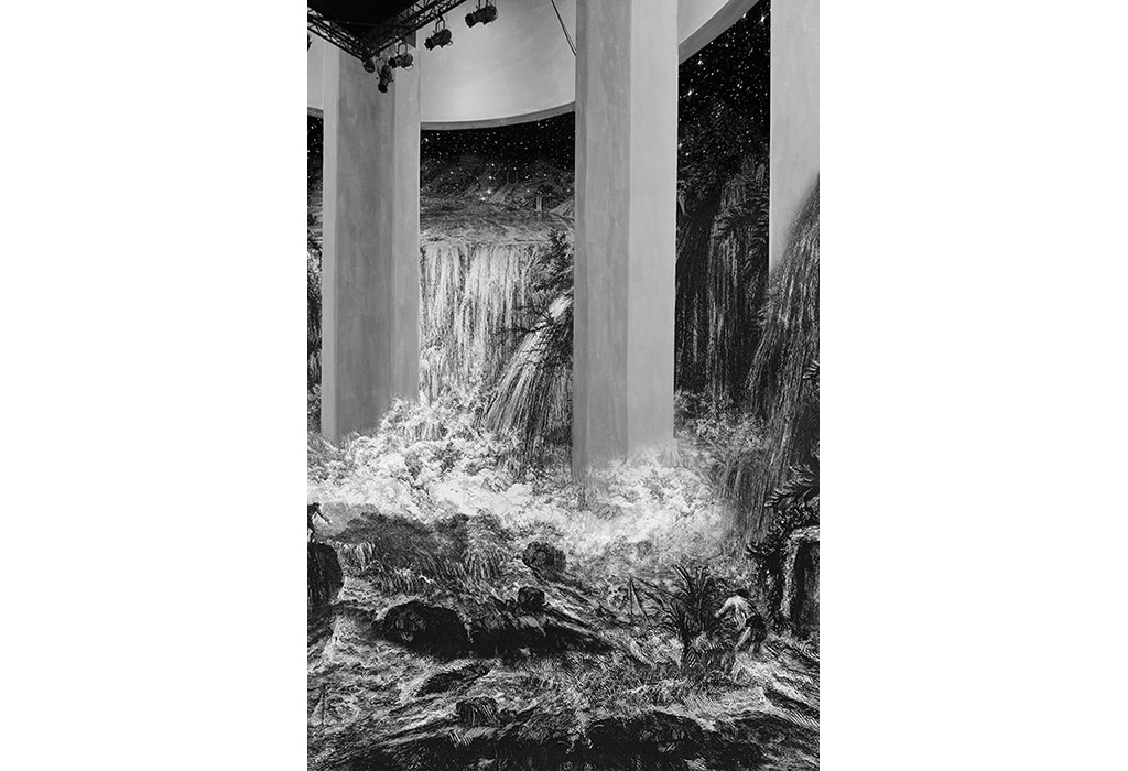 print, museum, Piranesi, waterfall and starry night