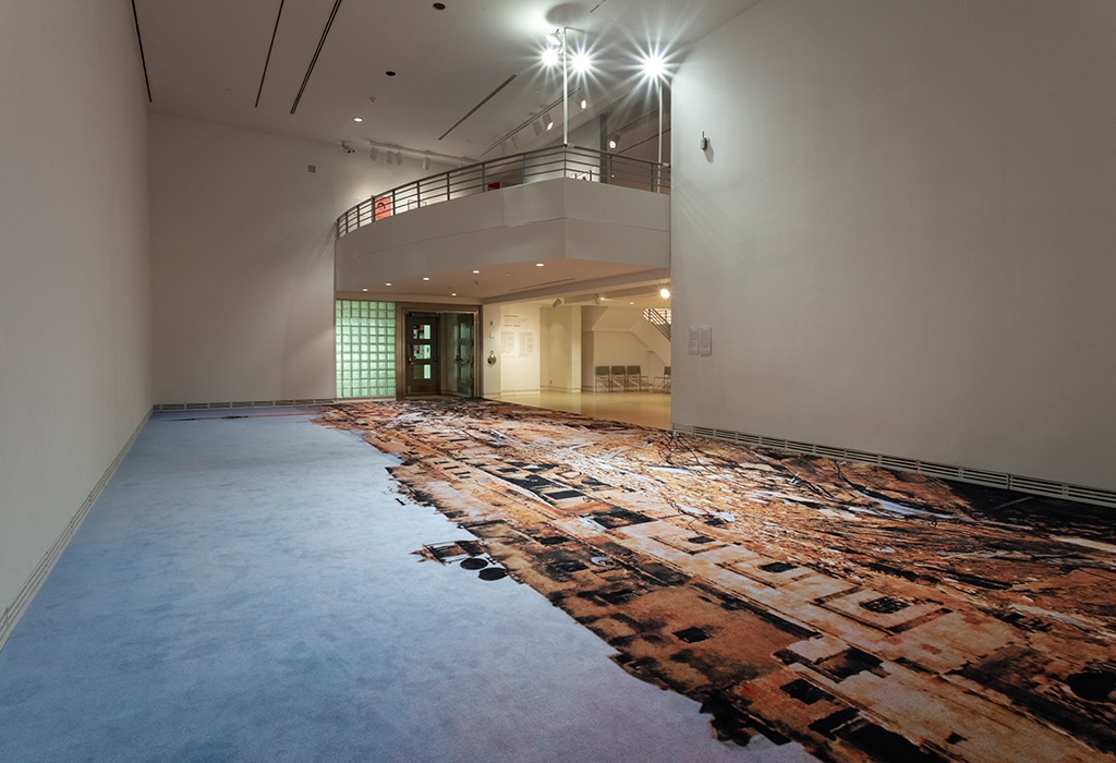 view of printed carpet on art gallery floor, special lighting attached to balcony above